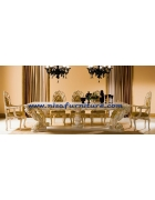 French Baroque Dining Table And Chair White Solid NFDT01