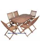 Cheap Rectangular Dining Table and 6 Folding Chairs Garden Outdoor Furniture